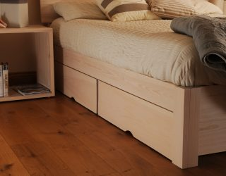 redone bed photo with drawers