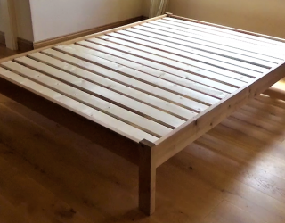 solid wooden bed frame